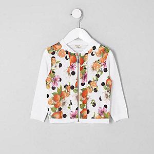 Mini - Wit met oranje vest met rits en print voor meisjes