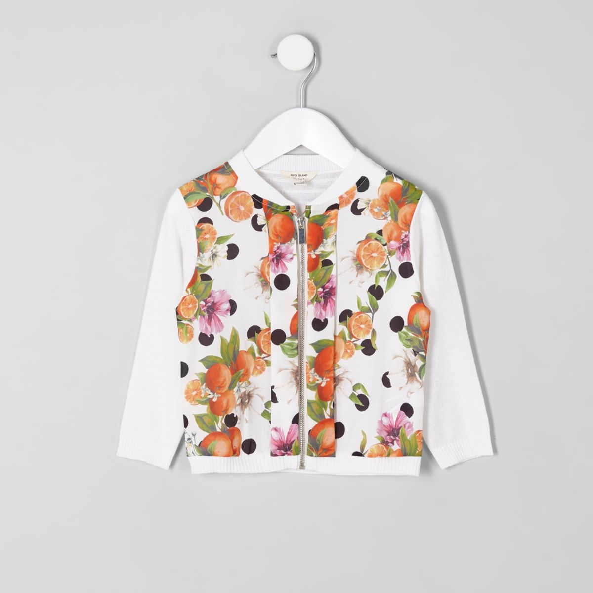 Mini girls white orange print zip up cardigan