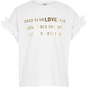 Girls white metallic 'love' T-shirt outfit