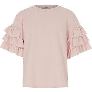 Roze gelaagd T-shirt met ruches aan de mouwen en pareltjes voor meisjes