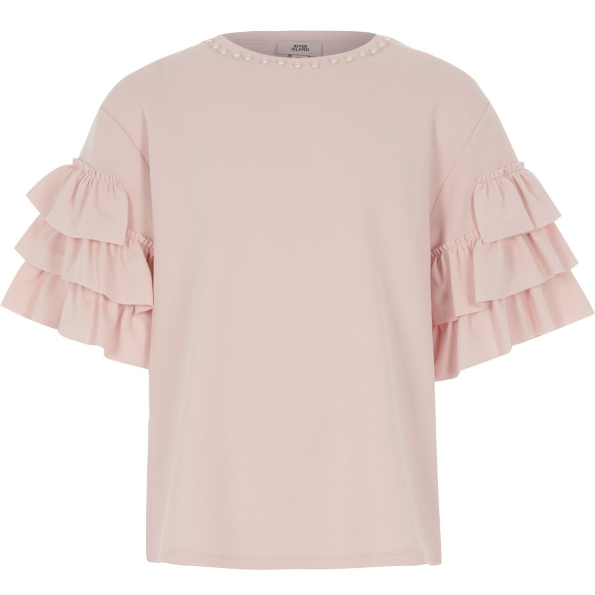 Girls pink pearl tiered frill sleeve t shirt t shirts for Frill sleeve t shirt