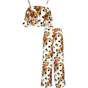 Outfit met oranje crop top met laag voor meisjes