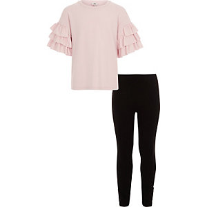 Girls light pink tiered frill top outfit