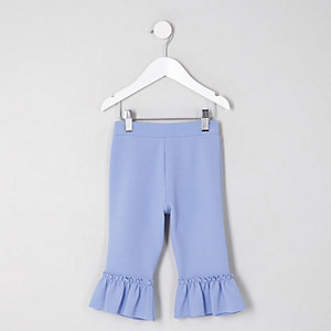 Mini - Lichtblauwe broek met ruches aan de zoom voor meisjes
