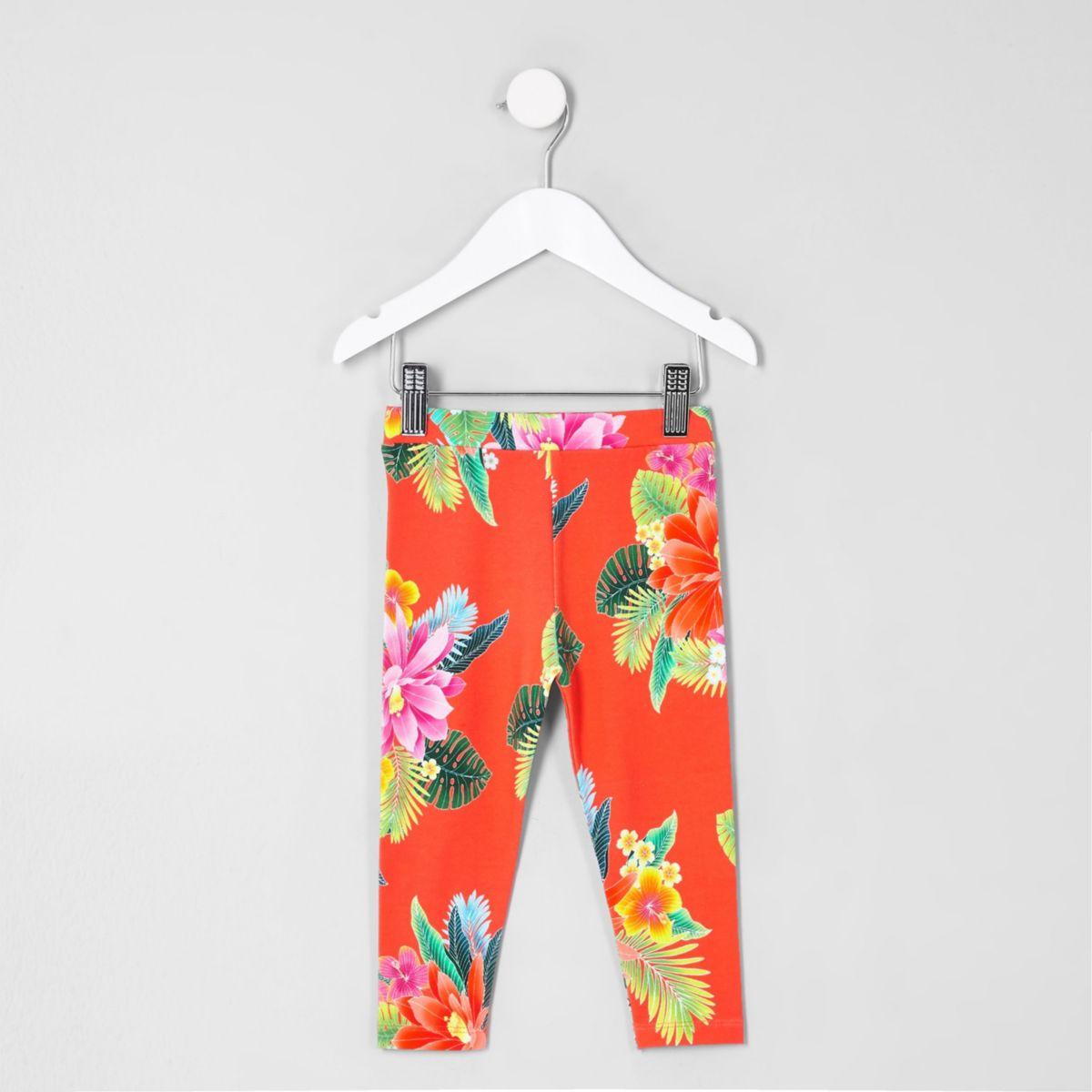Mini girls coral tropical print leggings