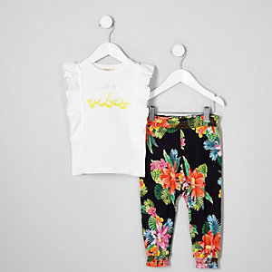 Mini - Witte outfit met 'sunshine vibes'-print voor meisjes