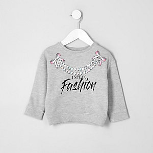 Sweat à imprimé « Fashion » gris chiné pour mini fille