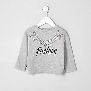Mini - Grijs gemêleerdd sweatshirt met 'Fashion'-print voor meisjes