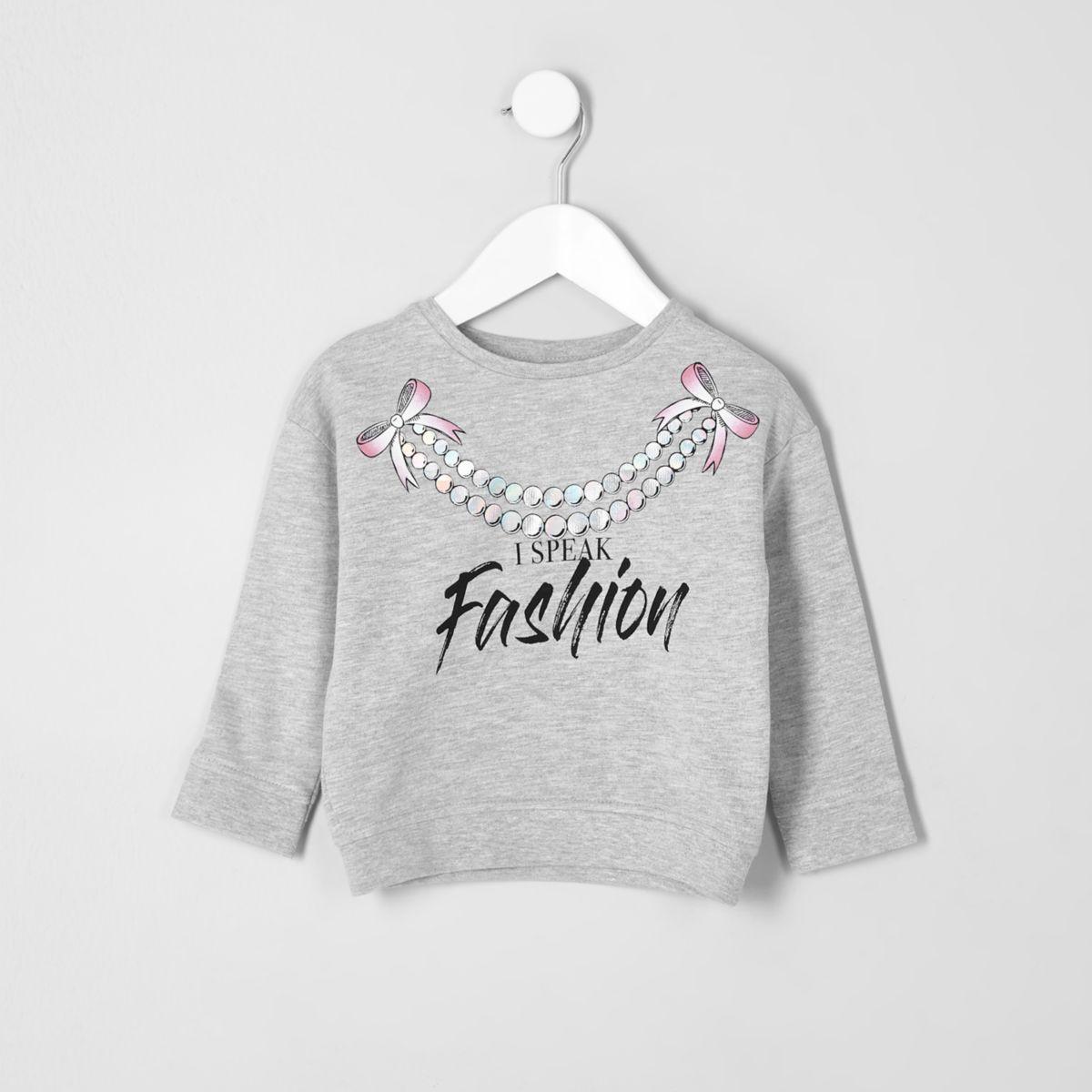 Sweat à imprimé « Fashion » gris chiné pour mini fille