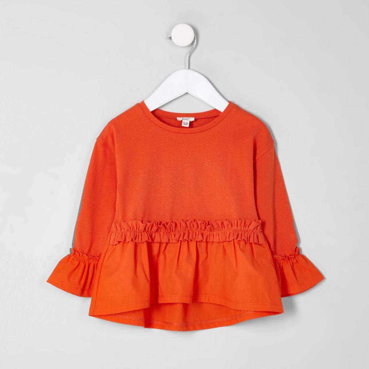 Mini girls orange poplin frill top