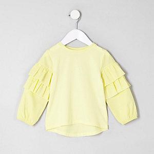 Mini - Gele top met ruches aan de mouwen voor meisjes