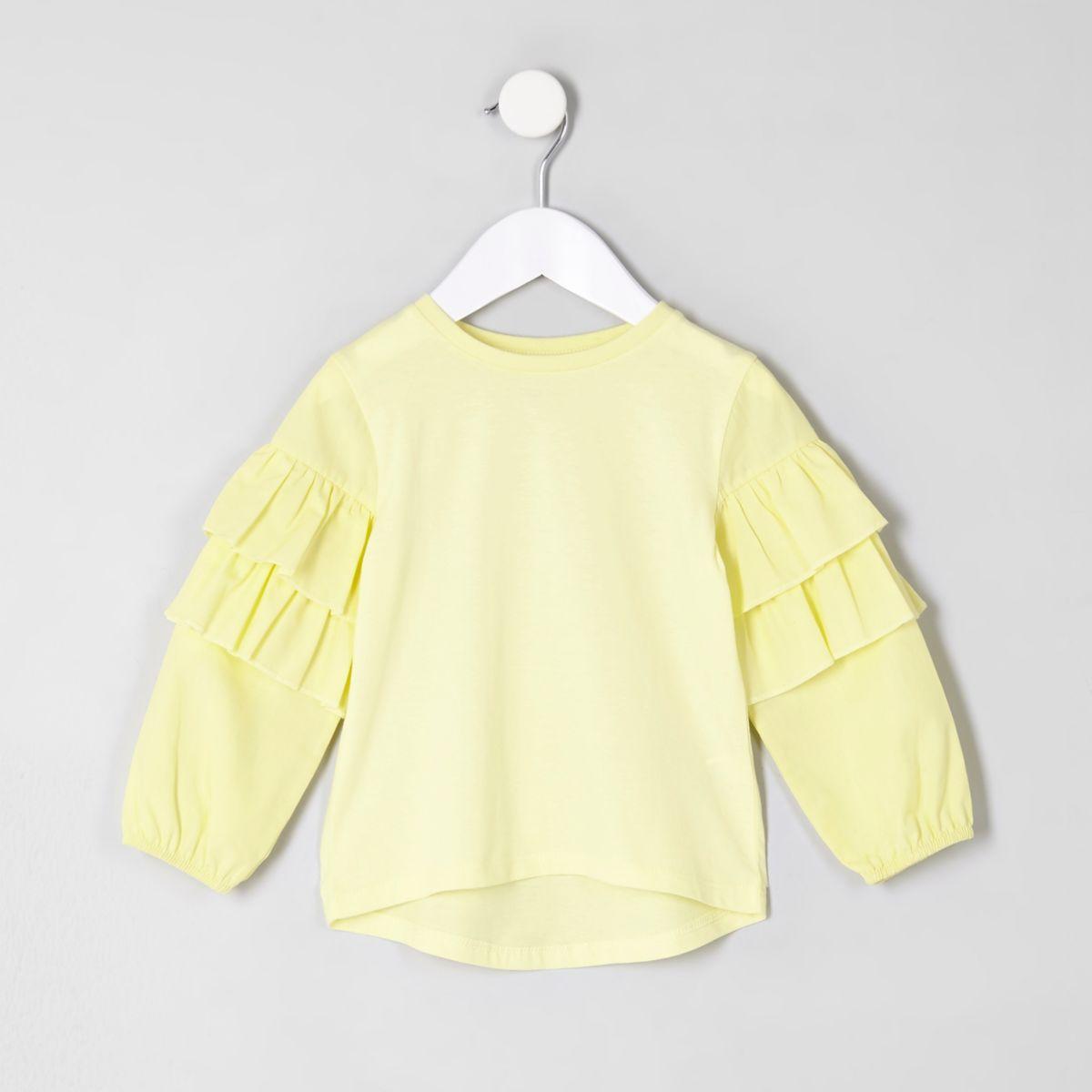 Mini girls yellow frill sleeve top