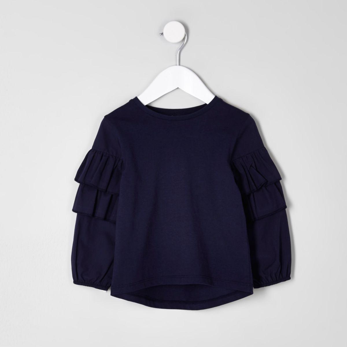 Mini girls navy frill sleeve top