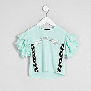 Mini - Groen T-shirt met 'heartbreaker'-print voor meisjes