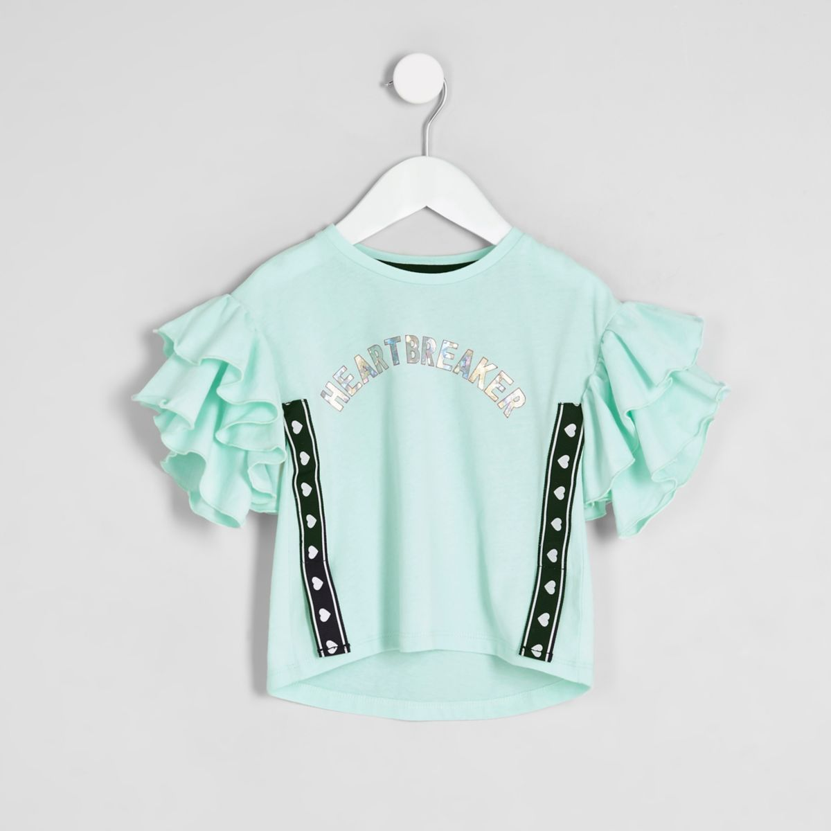 Mini girls green 'heartbreaker' tape T-shirt
