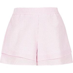 Short à carreaux rose effet superposé pour fille