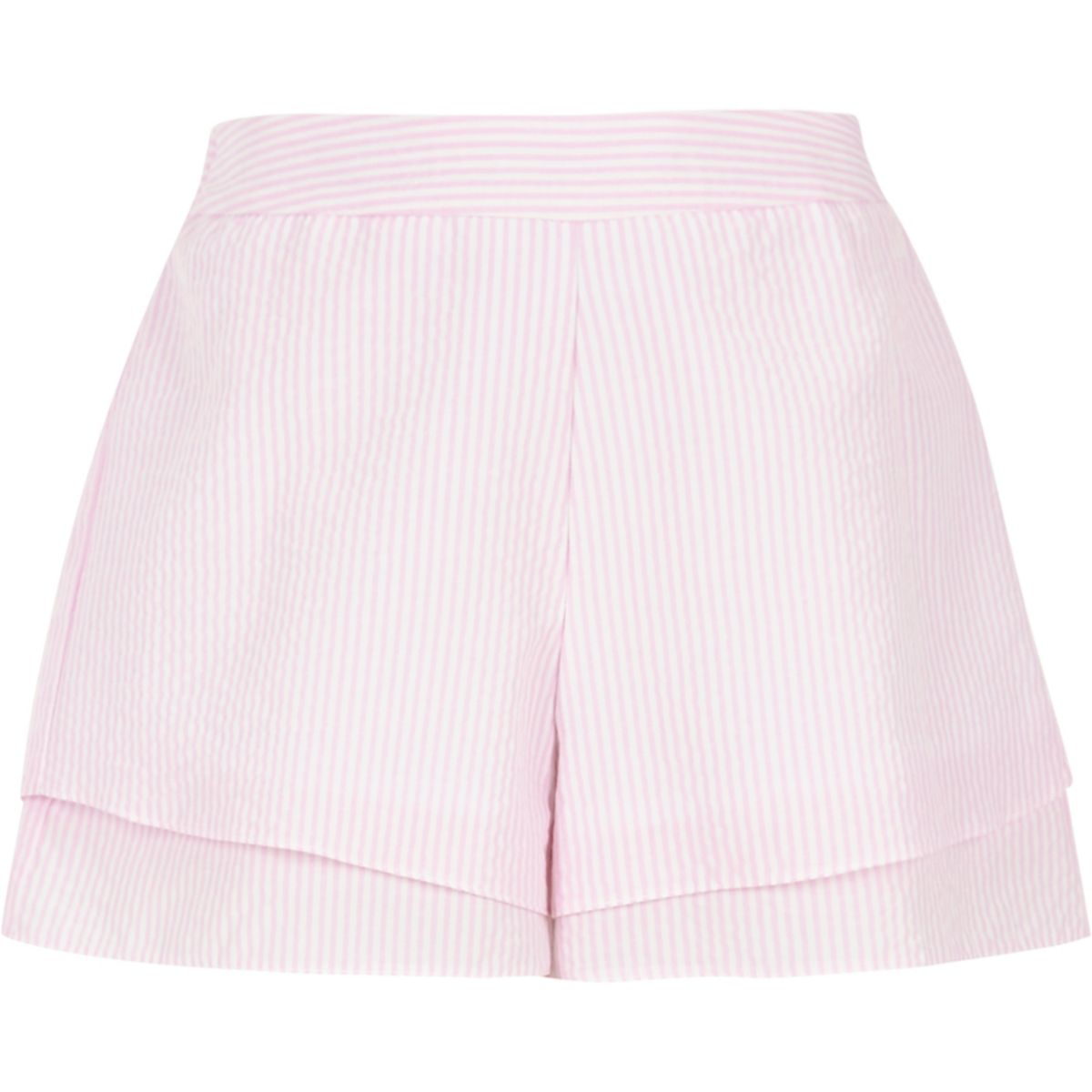 Girls pink check double layer shorts