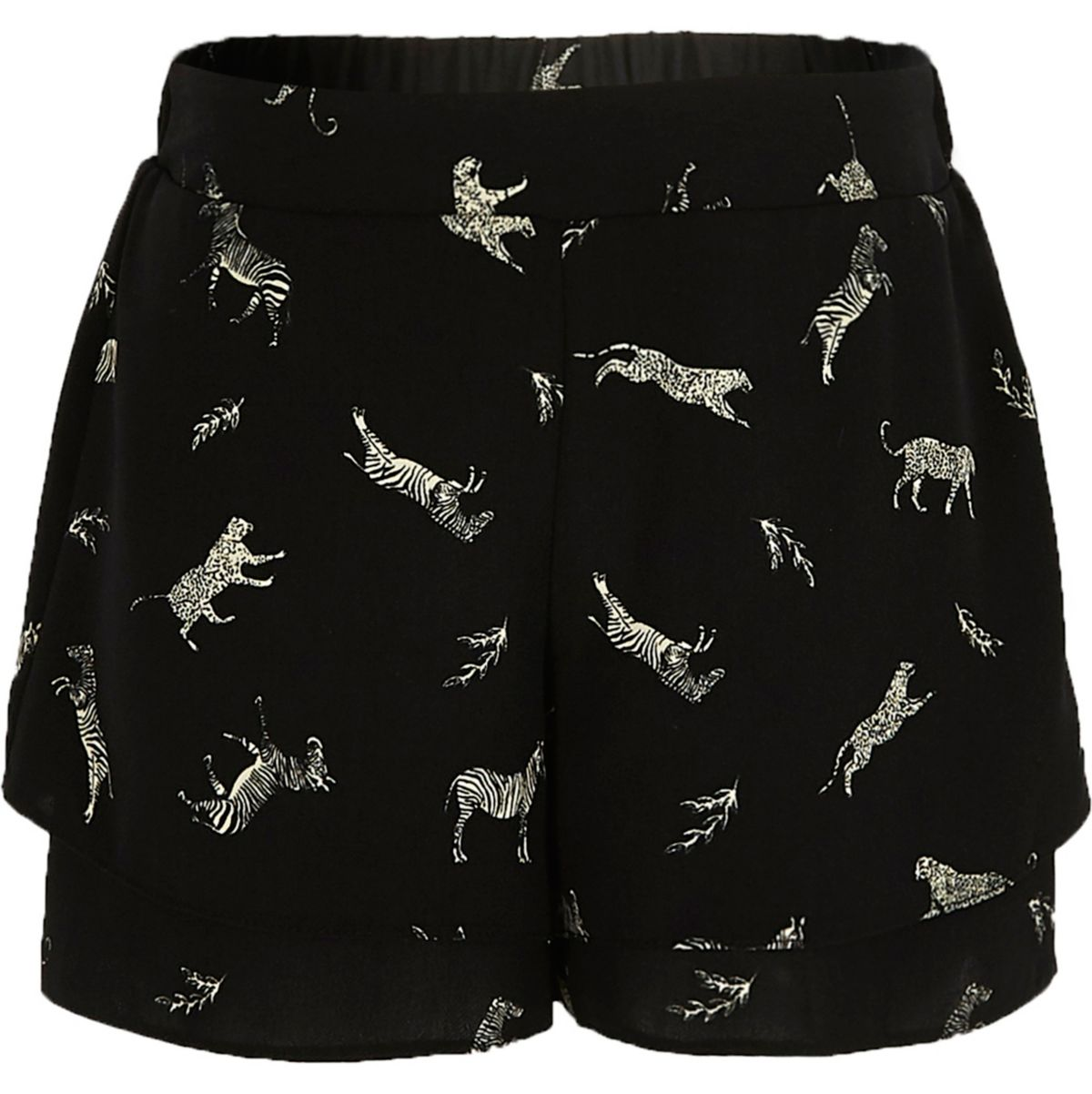 Girls black tiger double layer shorts