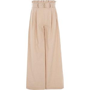 Beige Hose mit weitem Beinschnitt und Paperbag-Taille