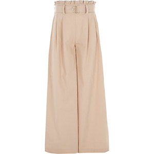 Girls beige paperbag waist wide leg pants