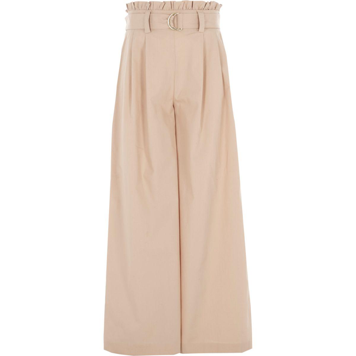Girls beige paperbag waist wide leg trousers
