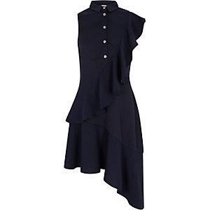 Robe chemise bleu marine asymétrique à volants pour fille