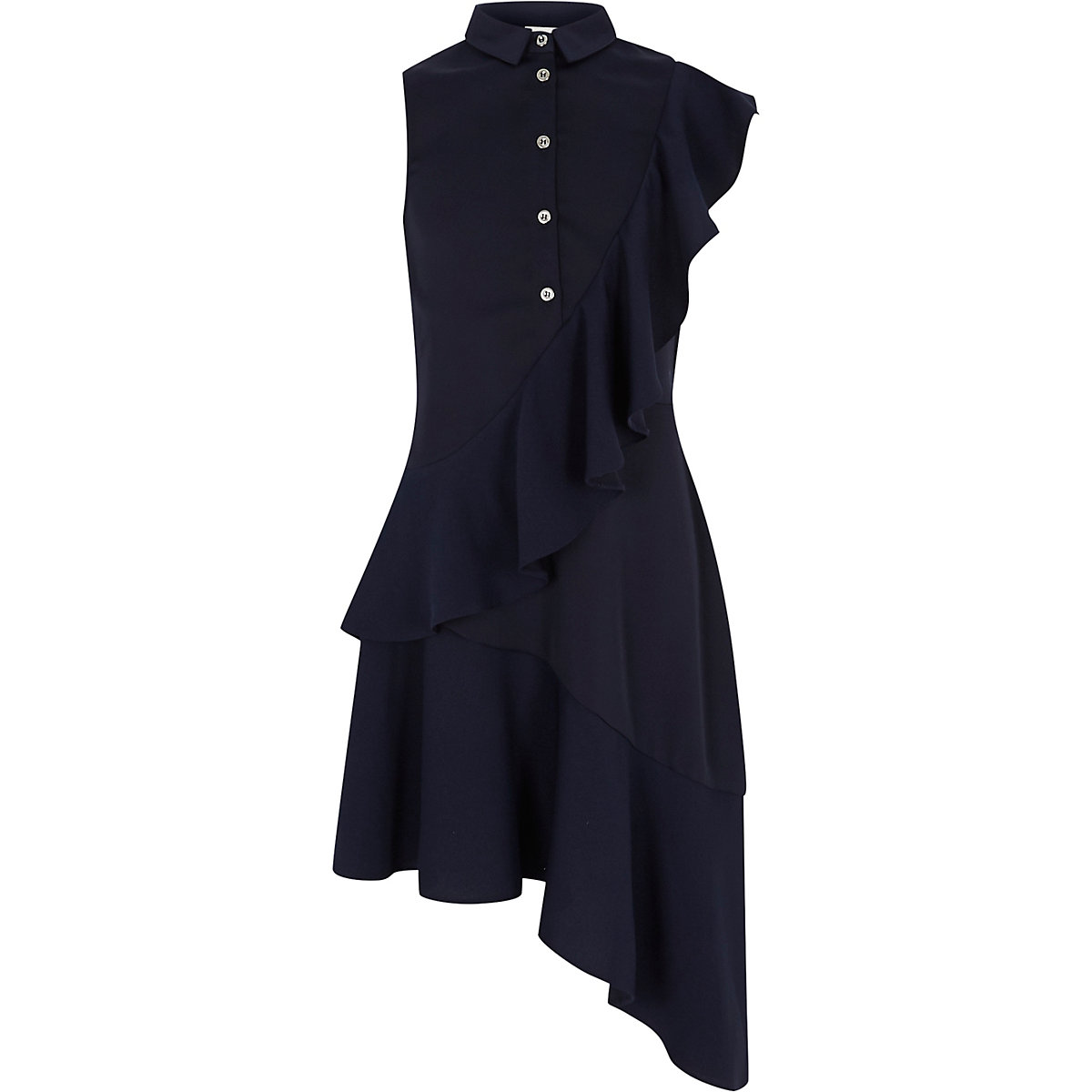 Girls navy asymmetric frill shirt dress