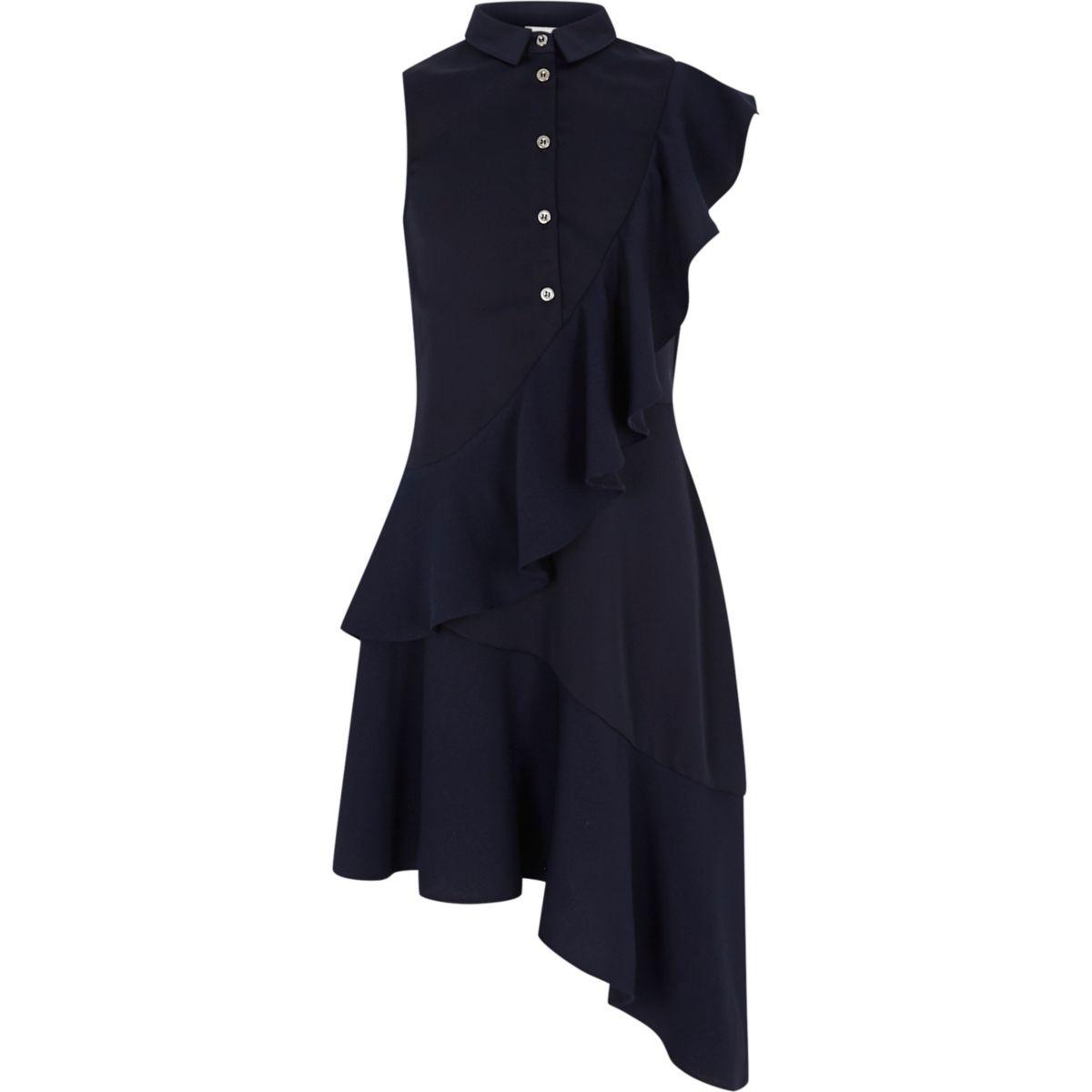 Girls navy asymmetric frill shirt dress