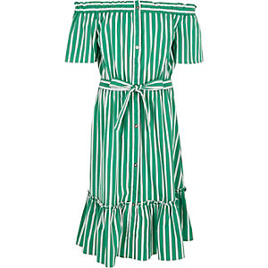 Girls green stripe belted bardot dress