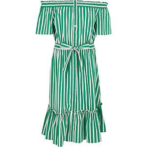 Robe Bardot rayée verte à ceinture pour fille