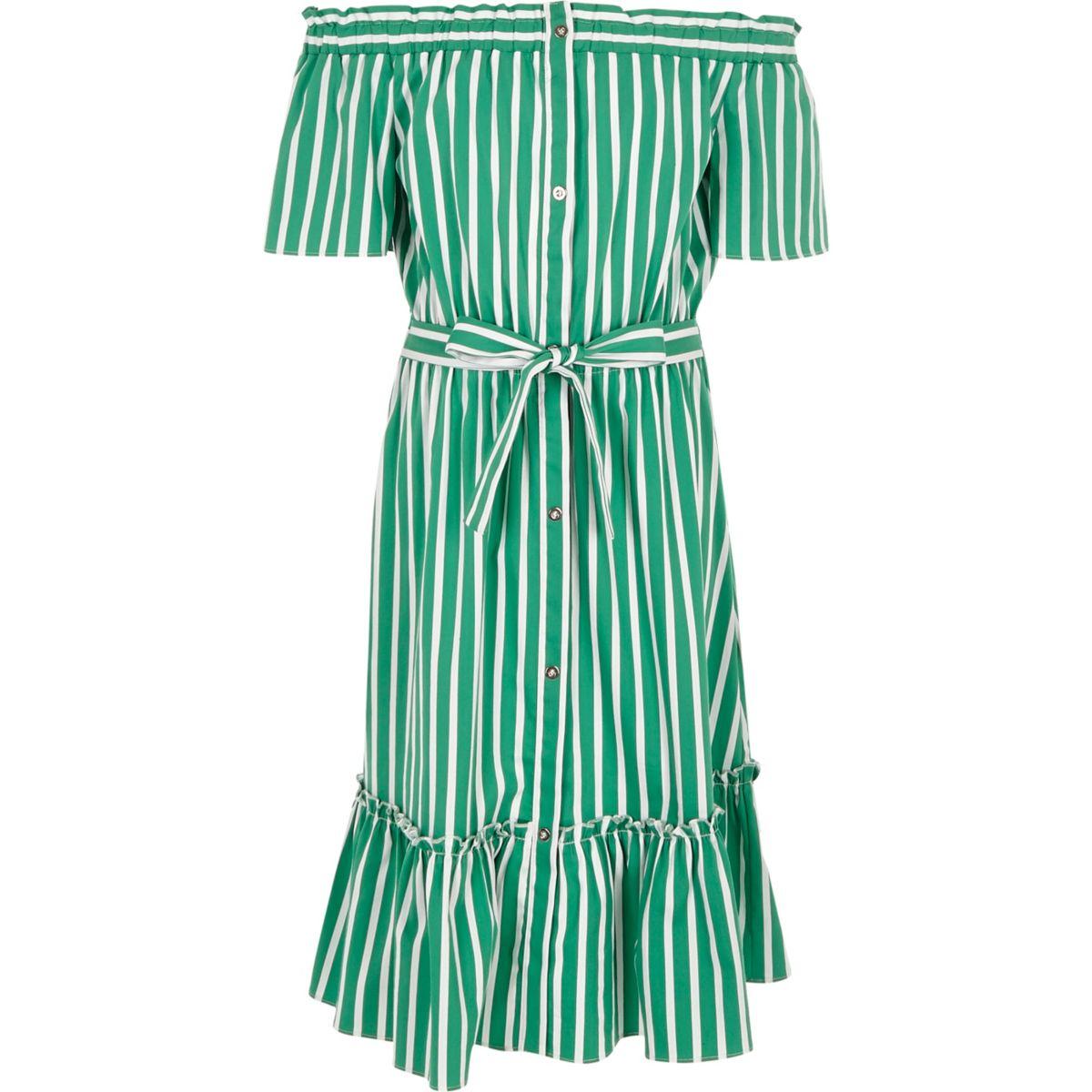 Girls green stripe belted bardot dress