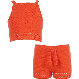 Girls orange crochet top and shorts outfit