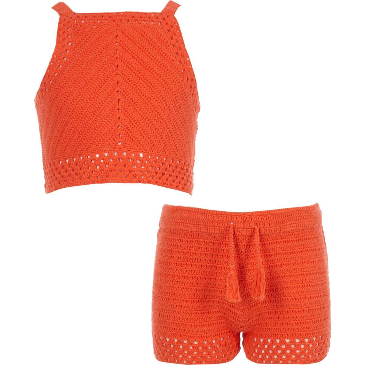 Ensemble avec short et top au crochet orange pour fille