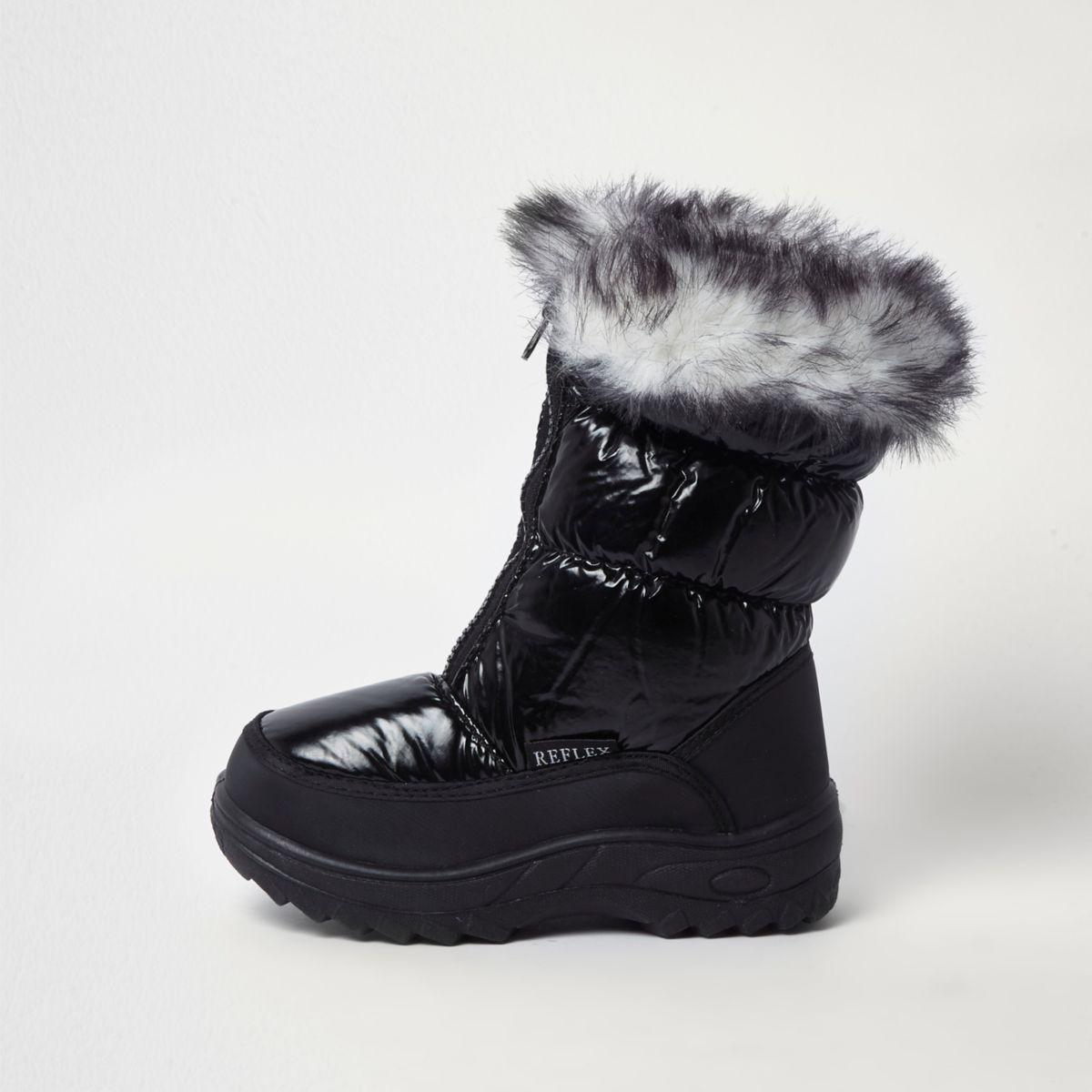 Bottes de neige noires à bordure en fausse fourrure pour fille