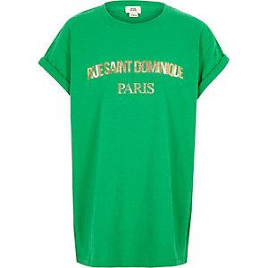 Girls green 'Rue Saint Dominique' T-shirt
