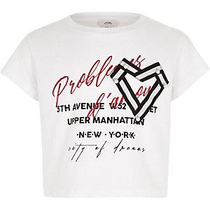 T-shirt court blanc imprimé «amour» avec cœur pour fille