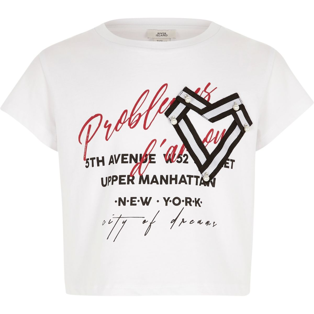 Girls white heart 'amour' cropped T-shirt