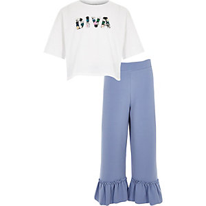 Girls white 'diva' T-shirt outfit