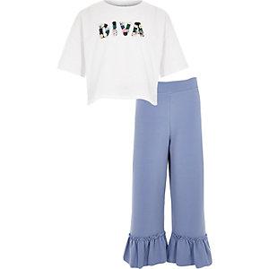 Outfit met wit T-shirt en 'diva'-print voor meisjes