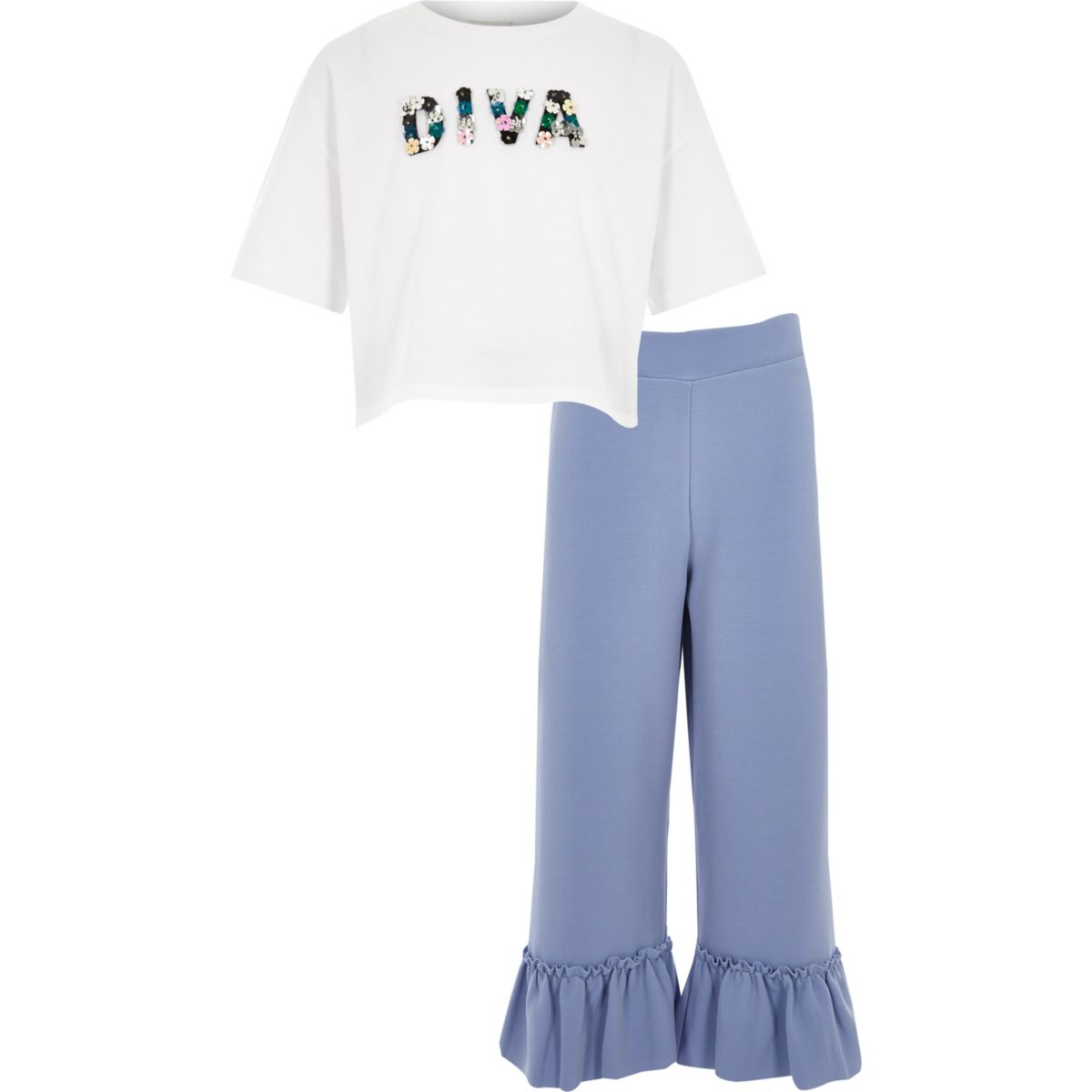 """Weißes Outfit mit T-Shirt """"diva"""""""