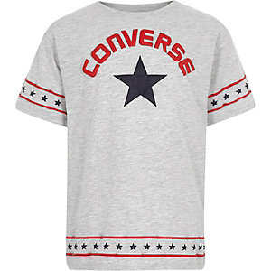 Girls grey Converse star mesh T-shirt