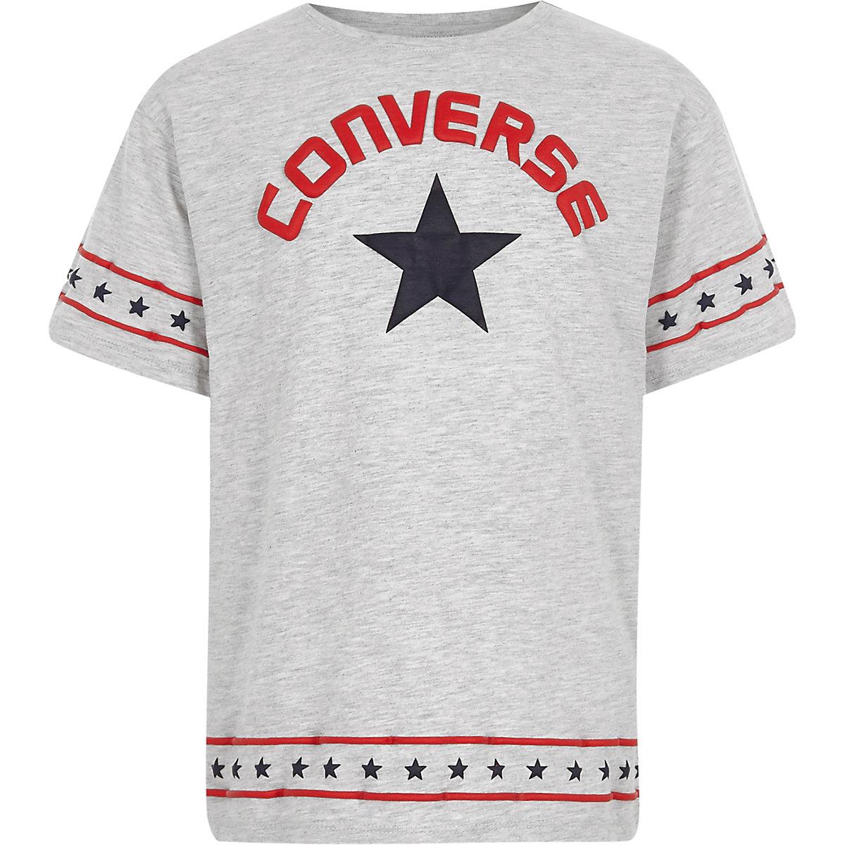 Girls Converse grey star trim T-shirt