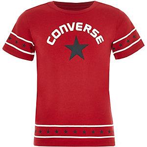 Converse – Rotes T-Shirt mit Sternenbordüre