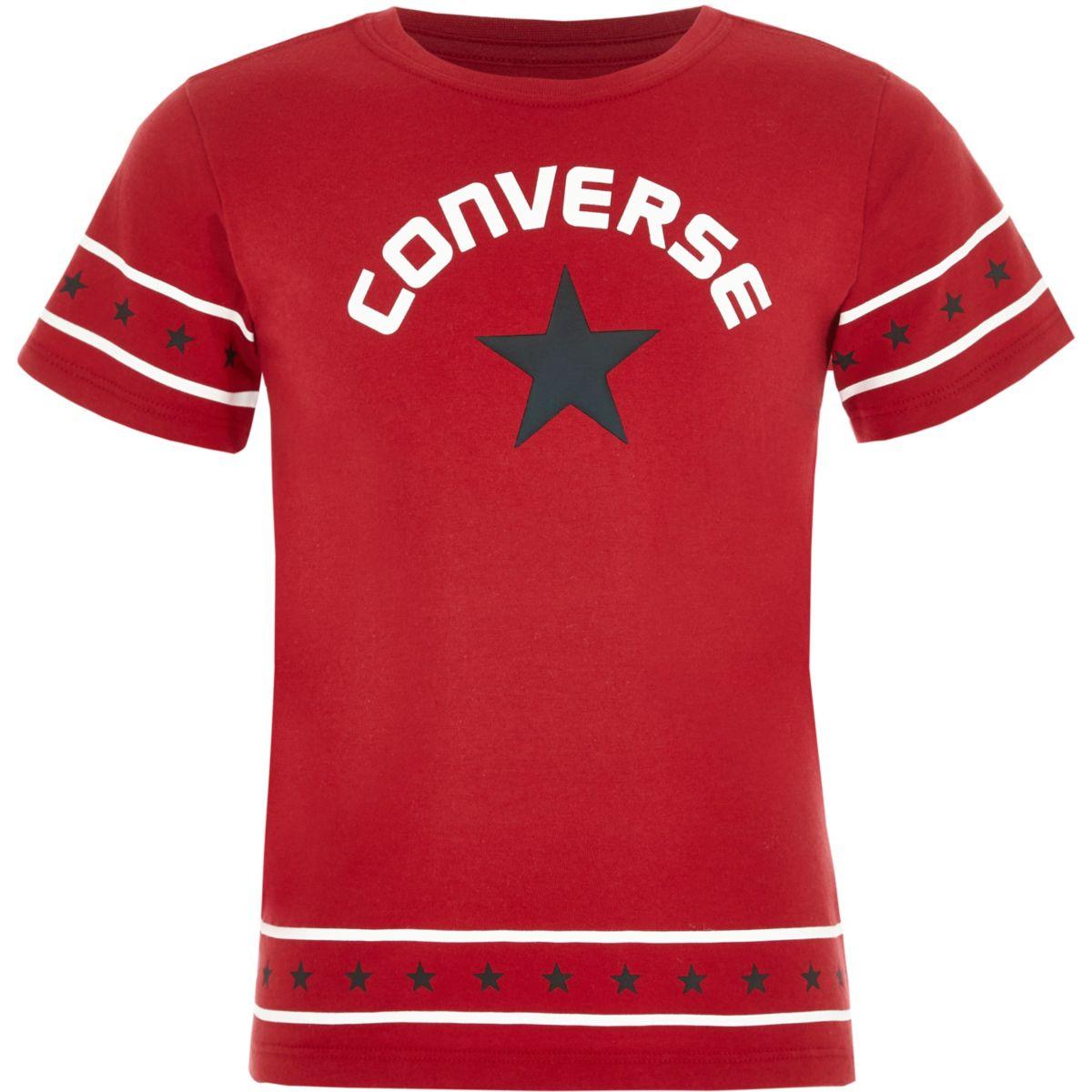 Converse – T-shirt rouge bordé d'étoiles pour fille