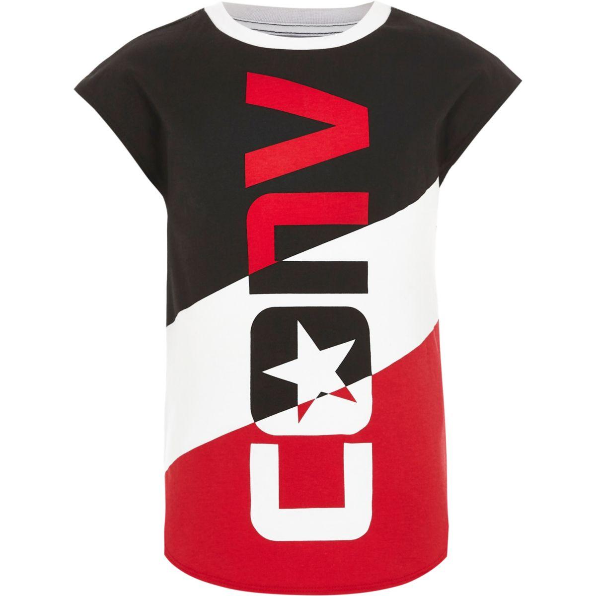 Converse – T-shirt blanc colour block pour fille