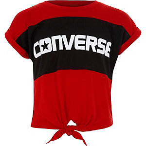 Girls red Converse block knot front T-shirt