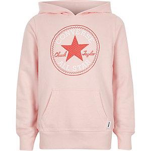 Sweat à capuche rose à imprimé Converse star pour fille