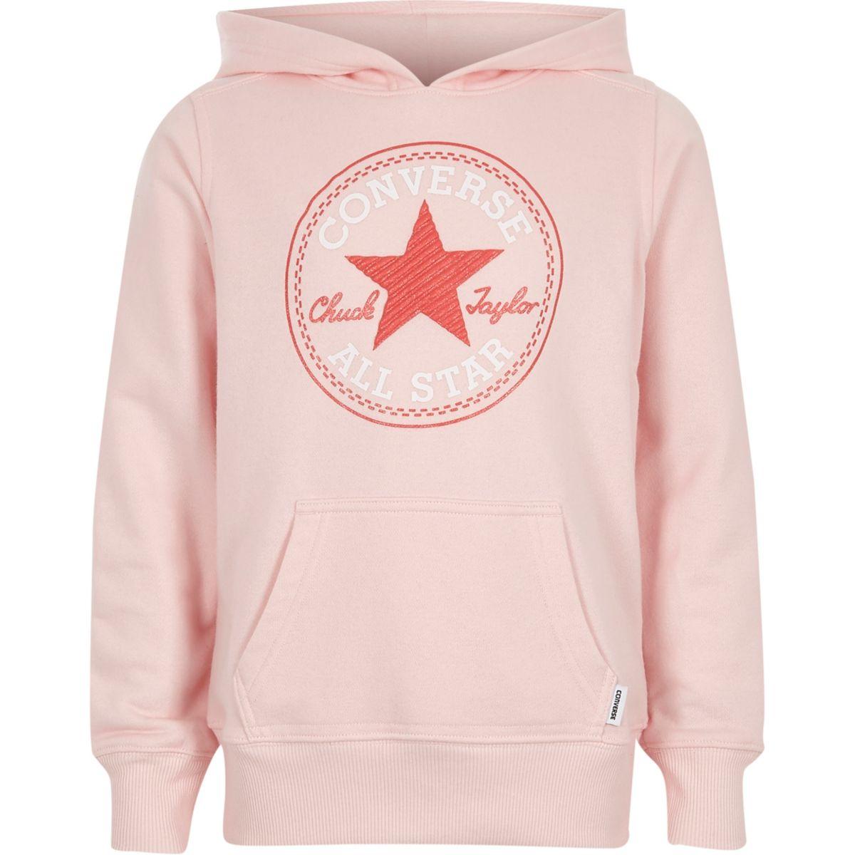 Girls pink Converse star print hoodie