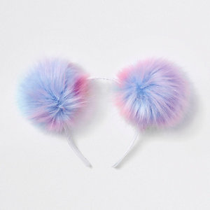 Girls light purple pom pom headband