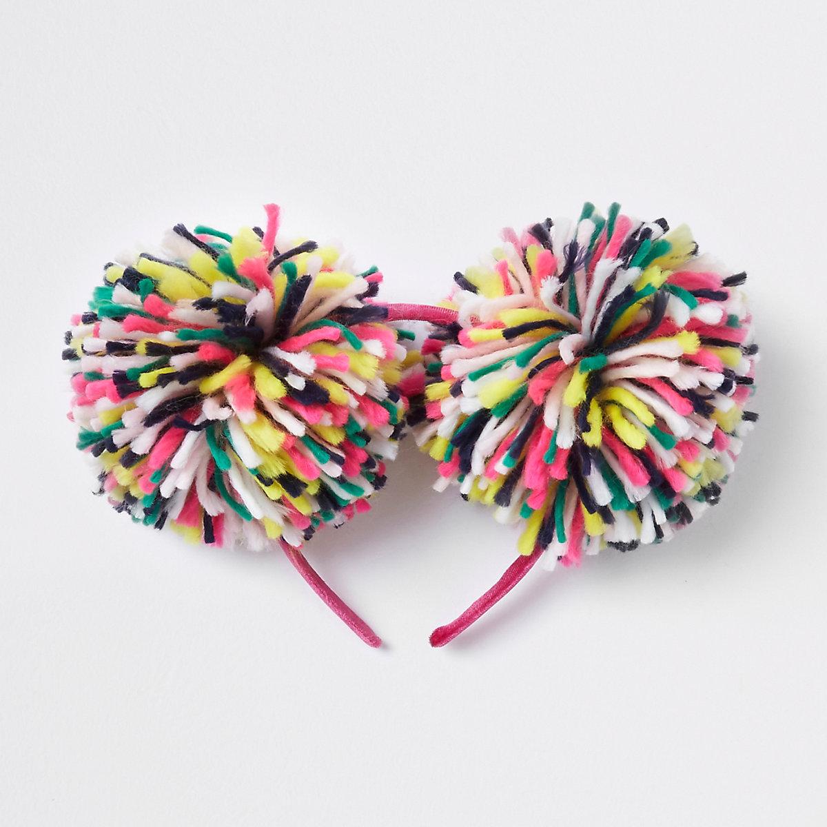 Girls green wool double pom pom headband